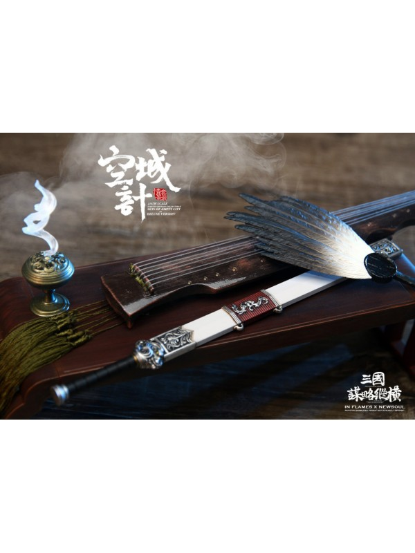 """INFLAMES IFT-043 1/6 """"Zhuge Liang(older ver.),one of the Soul Of There Kingdoms Stratagems series""""—Deluxe Version(including accessories of the EMPTY-CITY and the War wagons)"""