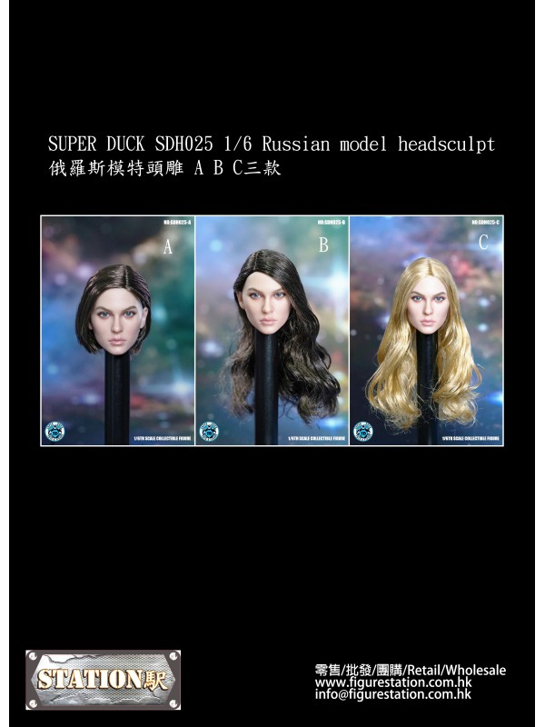 SUPER DUCK SDH025 A-C 1/6 Russian model headsculp (Pre-order HKD$208 )