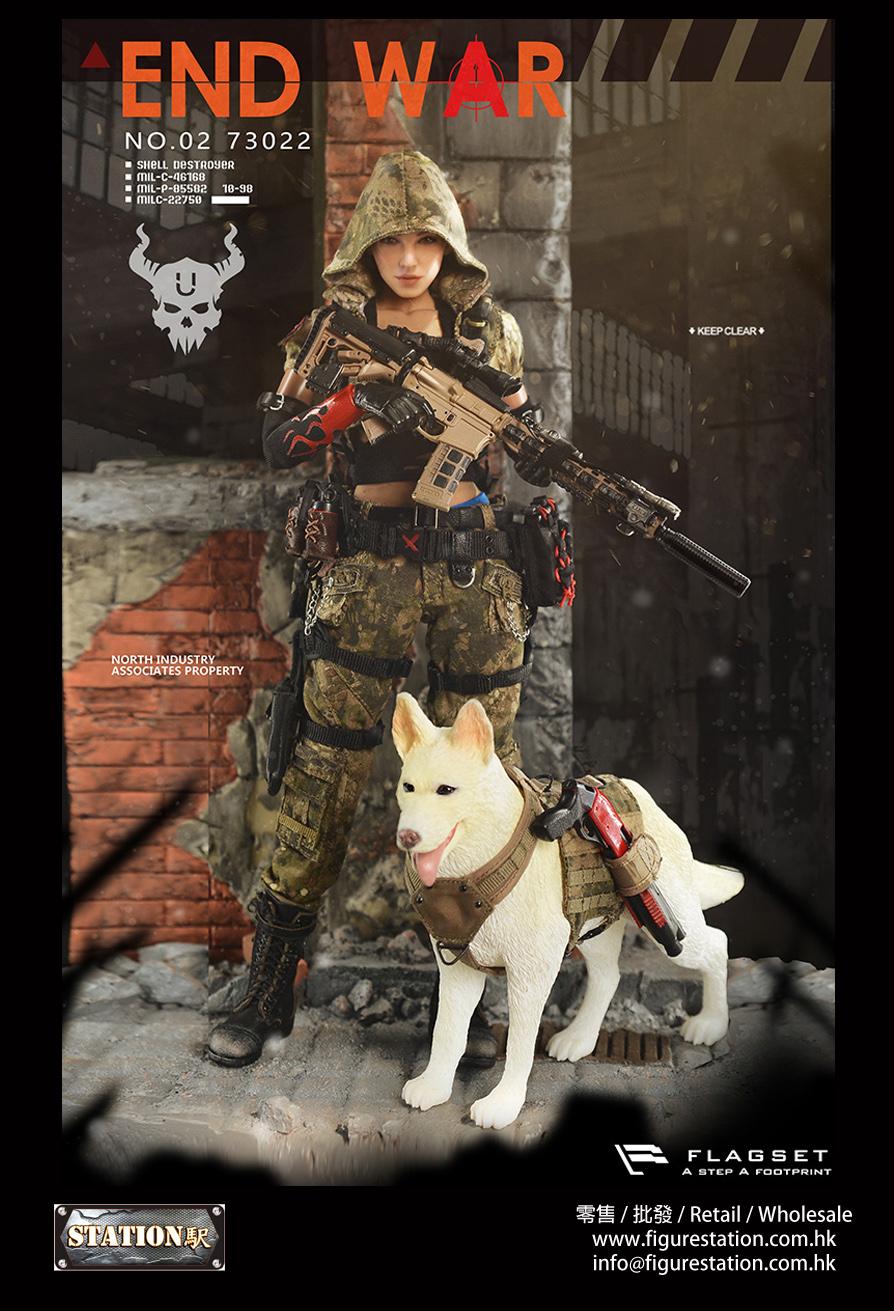 "FLAGSET FS-73022 1/6 末日戰爭系列 END WAR 死神小隊—""U""尤彌爾+戰犬套裝"